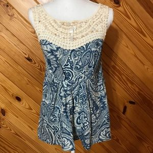 Anthropologie Deletta Blue Paisley Sleeveless Top